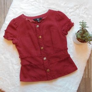 Mossimo Maroon Button Up Short Sleeve Jacket